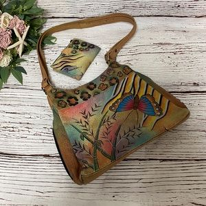 Anuschka Hand Painted Butterfly Hobo Bag & Wallet